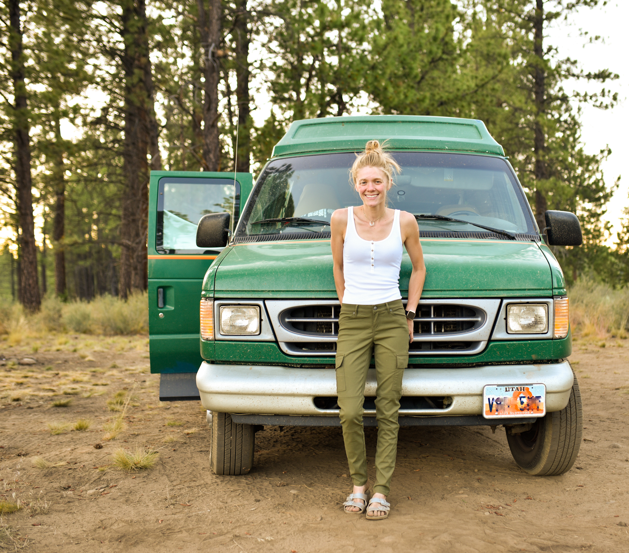 Solo Female Camper Makes a Holiday Inn Shuttle Her Home on Wheels