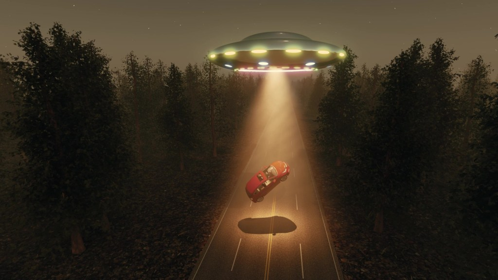 Car being abducted by spaceship.